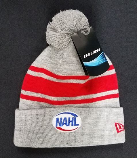 Picture of Limited Edition BAUER New Era RED Team Stripe Pom Pom Beanie